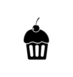 sweet cup cake with cherry icon vector image