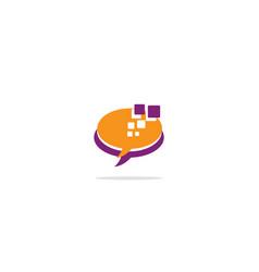Talk bubble conversation logo vector