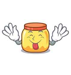 Tongue out cream jar mascot cartoon vector