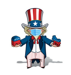 uncle sam republican n democratic - surgical mask vector image