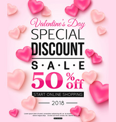 Valentines day special discount sale with balloons vector