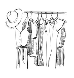 Wardrobe sketch clothes on the hangers summer vector