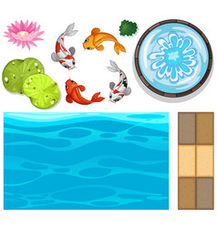 Water background with fish and lotus vector