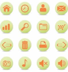 web icons round orange vector image