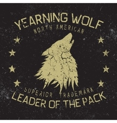 wolf howling at moonvintage label vector image
