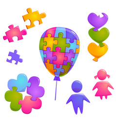 world autism day symbols with puzzle pieces vector image
