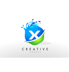 X letter logo blue green splash design vector