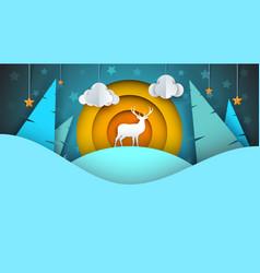 Deer cartoon winter landscape vector