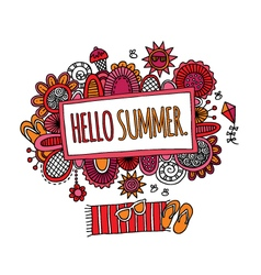 Hello Summer Hand Drawn Doodle Bright vector image vector image
