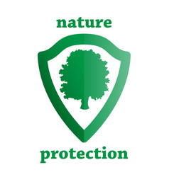 nature protection shield with a tree vector image