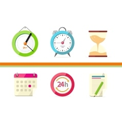 Time design flat concept clock and calendar vector