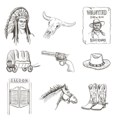 Wild west icon western wanted cowboy poster vector image