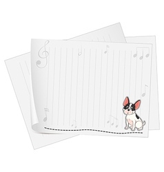 A musical paper with a dog vector image vector image