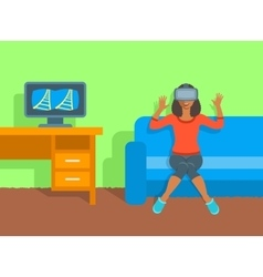 African woman in virtual reality glasses at home vector image vector image