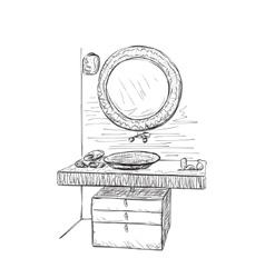 Bathroom interior elements Hand drawn mirror vector image