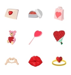 Saint Valentines day icons set cartoon style vector image vector image