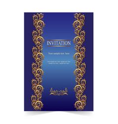 blue invitation card wedding card with ornamental vector image