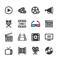 Cinema and movie icons white vector image