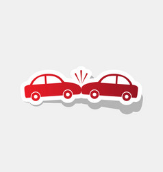 crashed cars sign new year reddish icon vector image vector image