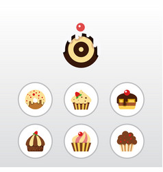 Flat cake set of pastry muffin cupcake and other vector
