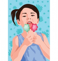 kid with ice-cream vector image vector image