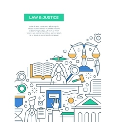 Law and Justice - line design brochure poster vector image