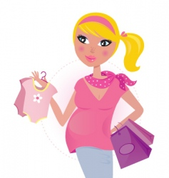 pregnant mom shopping vector image vector image