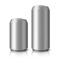 Two blank aluminum beer cans isolated on white vector image vector image
