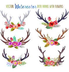 Watercolor deer horns with flowers vector