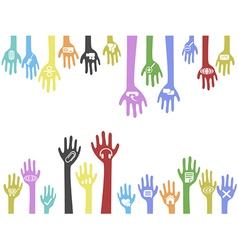background of hands with web icons vector image vector image