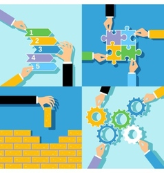 Business hands concepts set vector image vector image