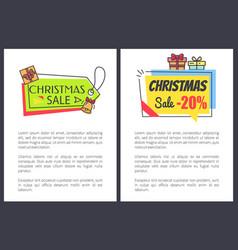 christmas sale -20 off set vector image vector image