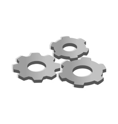 Gears icon in isometric 3d style vector image