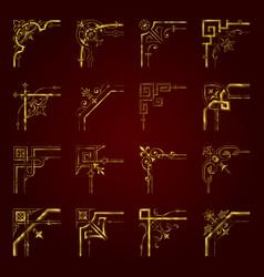 golden calligraphic decorative corners for design vector image
