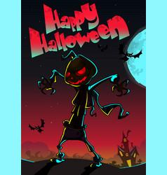 halloween scary pumpkin scarecrow for halloween vector image