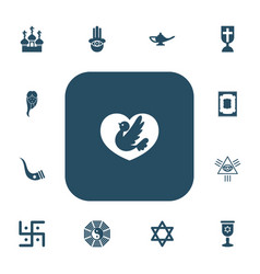 set of 13 editable faith icons includes symbols vector image