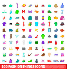 100 fashion things icons set cartoon style vector image
