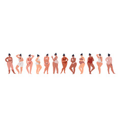 A collection plump girls large set vector