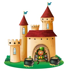 A man in front of a castle with two pots of gold vector image