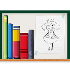 A shelf with books and a paper with a queen vector image