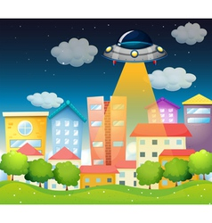 A spaceship above buildings vector