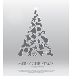 Abstract christmas card with engraving icons vector image