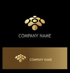 Abstract dot connect technology gold logo vector