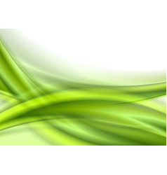 abstract green smooth shiny waves on white vector image