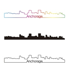 Anchorage skyline linear style with rainbow vector image