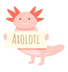 Axolotl animal banner icon cartoon style vector
