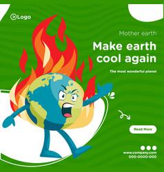 Banner design make earth cool again vector