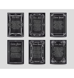 Black chalkboard cards with vintage frame vector image