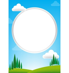 Blank Circle with blue sky and green field vector