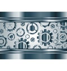 Blue chrome gears mechanism background vector